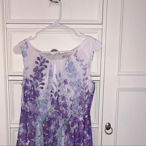 White and purple floral dress